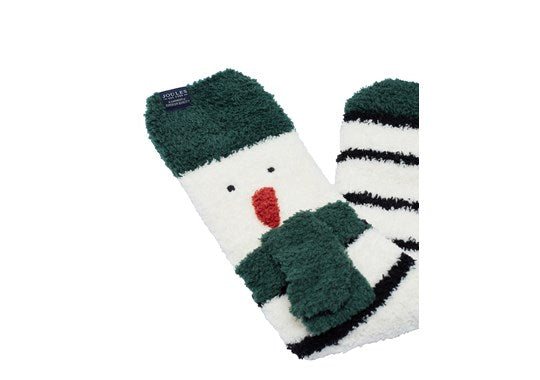 Joules Mens Festive Christmas Supersoft Fluffy Socks Cream Snowman