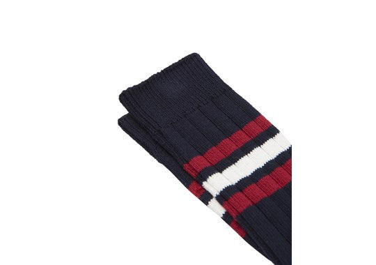 Joules Mens Boot Sock Chunky Ankle Socks Navy Rugby Stripe