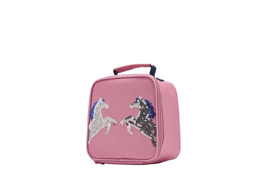 Joules Girls Munch Bag Lunchbag Pink Sequin Horse