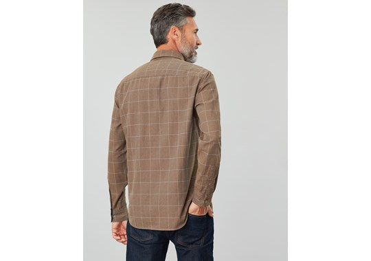 Joules Mens Barbrook Long Sleeve Classic Fit Flannel Shirt Brown Overcheck
