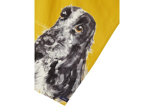 Joules Homeware Kitchen 2 Pack Classic Tea Towel Gold Multi Dog