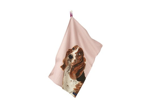 Joules Homeware Kitchen 2 Pack Classic Tea Towel Lilac Multi Dog