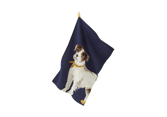 Joules Homeware Kitchen 2 Pack Classic Tea Towel Navy Multi Dog