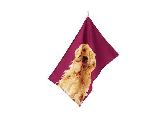 Joules Homeware Kitchen 2 Pack Classic Tea Towel Purple Multi Dog