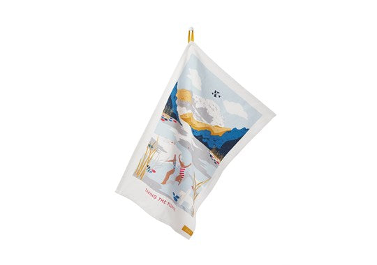 Joules Homeware Kitchen Single Tea Towel White Swim Location