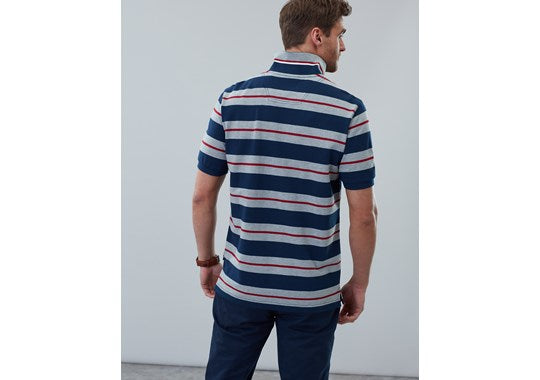 Joules Mens Filbert Striped Classic Fit Polo Navy Marl Stripe