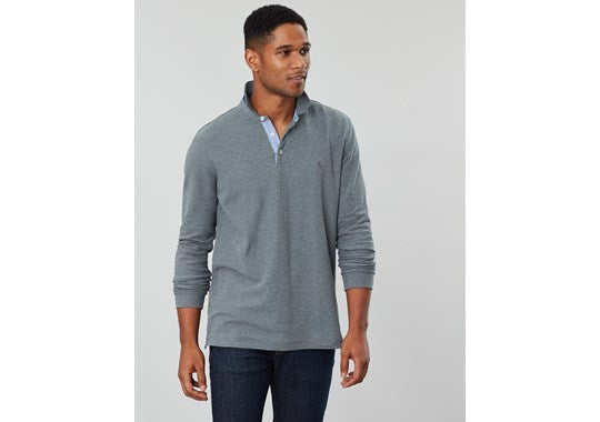 Joules Mens Woodwell Long Sleeve Classic Fit Polo Grey Marl