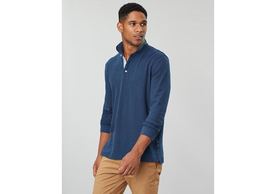 Joules Mens Woodwell Long Sleeve Classic Fit Polo Navy
