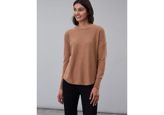 Joules Ladies Poppy Round Neck Jumper Tan