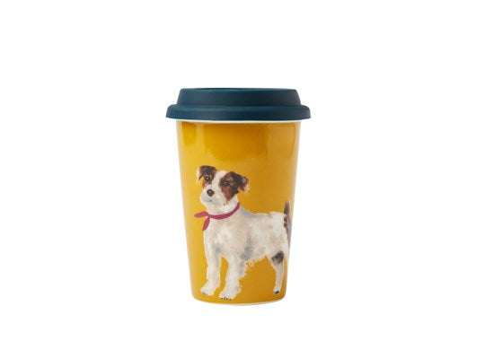 Joules Homeware  Travel Mug With Silicone Lid Gold Dog