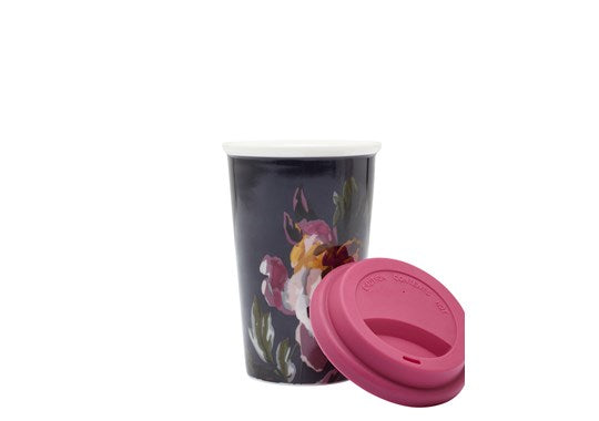 Joules Homeware Travel Mug With Silicone Lid Navy Floral