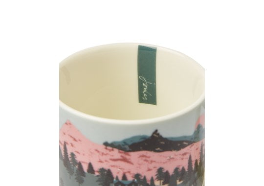 Joules Homeware Kitchen Cuppa Single Small Porcelain Printed Mug White Dawn Location