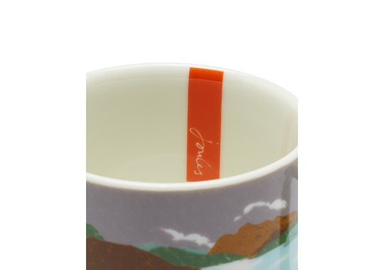 Joules Homeware Kitchen Cuppa Single Small Porcelain Printed Mug White Rain Location