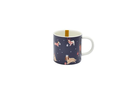 Joules Homeware Christmas Cuppa Porcelain Mug Navy Dogs