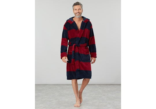 Joules Mens Cosy Time Fluffy Dressing Gown Red Block Stripe