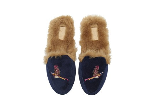 Joules Ladies Ferndale Premium Loafer Slipper Navy Pheasant
