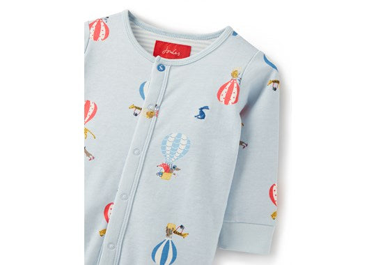 Joules Baby Ziggy Printed Babygrow With Feet Blue Balloons