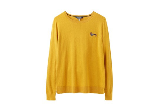 Joules Ladies Tina Crew Neck Jumper Sausage Dog Antique Gold