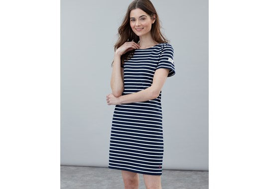 Joules Ladies Riviera Short Sleeve Shift Dress Navy Cream Stripe
