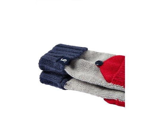 Joules Boys Converter Gloves Grey Green Blue