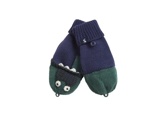 Joules Boys Chummy Converter Gloves Navy Green Dino
