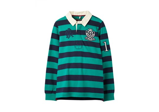 Joules Boys Winner Stripe Rugby Shirt Green Navy