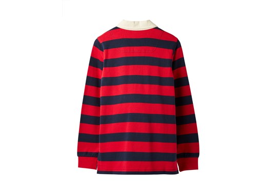 Joules Boys Winner Stripe Rugby Shirt Red Navy Stripe