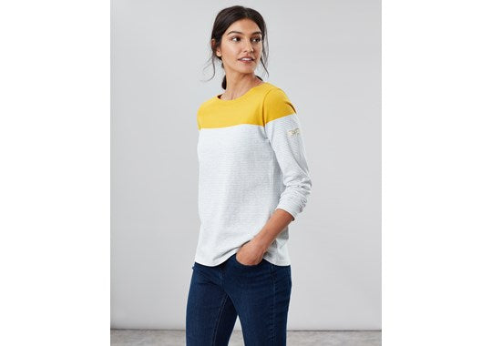 Joules Ladies Harbour Long Sleeve Jersey Top Grey Cream Gold Stripe