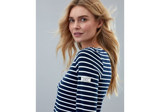 Joules Ladies Harbour Long Sleeve Jersey Top Navy Cream Stripe