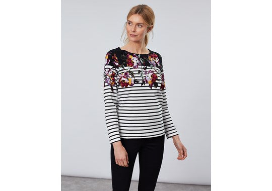 Joules Ladies Harbour Print Long Sleeve Jersey Top Black Border Peony