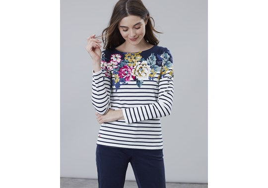 Joules Ladies Harbour Print Long Sleeve Jersey Top 30th Anniversary Floral