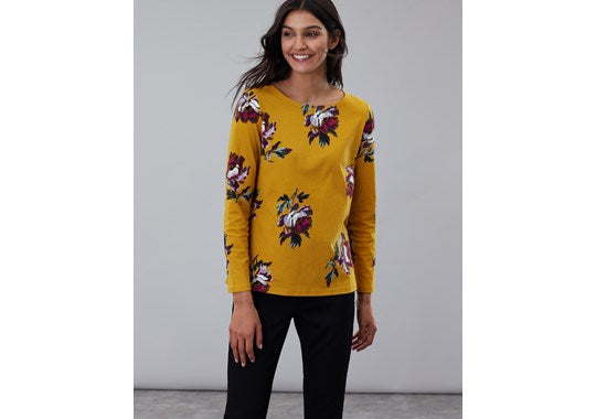 Joules Ladies Harbour Print Long Sleeve Jersey Top Gold Peony