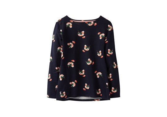 Joules Ladies Harbour Print Long Sleeve Jersey Top Navy posy