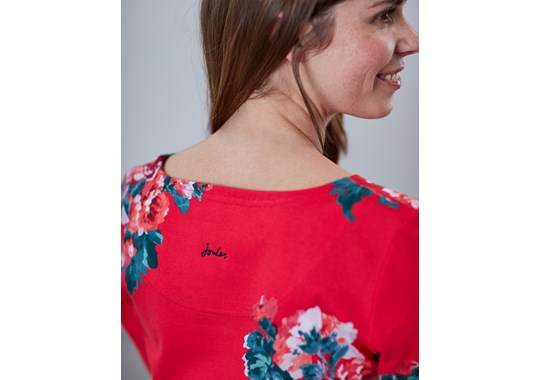 Joules Ladies Harbour Print Long Sleeve Jersey Top Red Floral