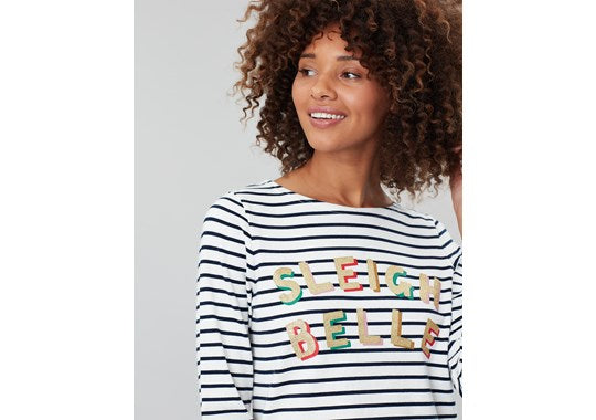 Joules Ladies Harbour Print Long Sleeve Jersey Top Navy White Stripe Sleigh Belle Text