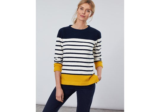 Joules Ladies Seaham Chenille Jumper Navy Gold