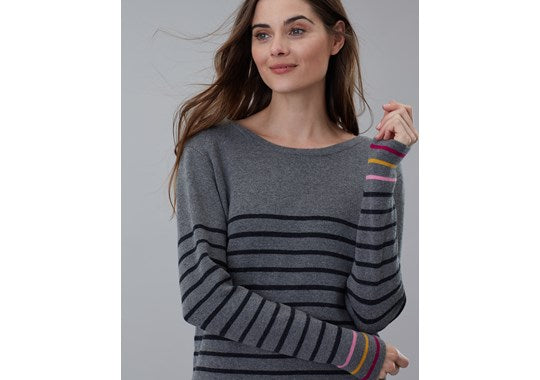 Joules Ladies Estelle Knitted Long Sleeve Tunic Grey Marl Stripe
