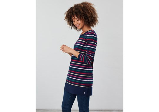 Joules Ladies Estelle Knitted Long Sleeve Tunic Navy Stripe Multi Colour