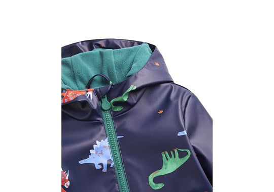 Joules Boys Skipper Waterproof Rubber Coat Navy Dinos