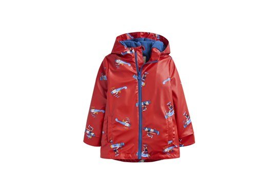 Joules Boys Skipper Waterproof Rubber Coat Red Planes
