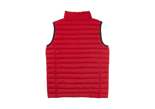 Joules Boys Crofton Warm Welcome Packaway Gilet Deep Red
