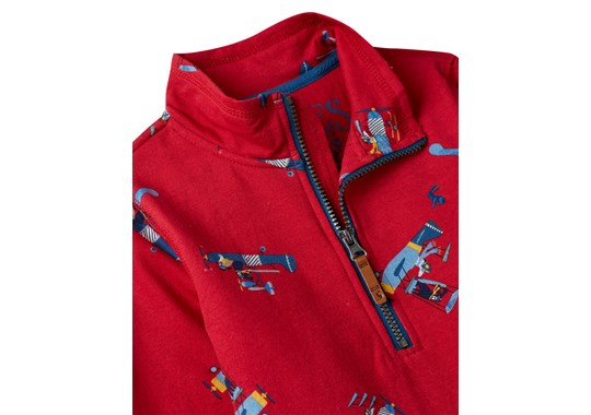 Joules Boys Dale Half Zip Sweatshirt Red Planes