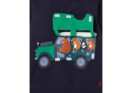 Joules Boys Ventura Sweatshirt Navy Jeep