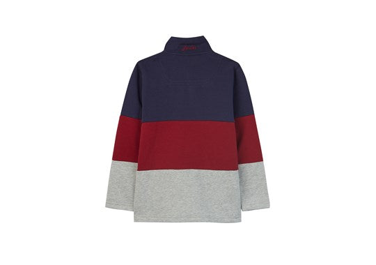 Joules Boys Dale Half Zip Sweatshirt Navy Red Grey