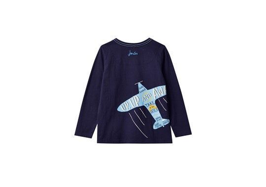 Joules Boys Finlay Screen Print Long Sleeve T Shirt Navy Parachute Dog