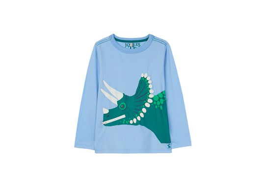 Joules Boys Zippadee Applique TShirt Long sleeve Blue Dino