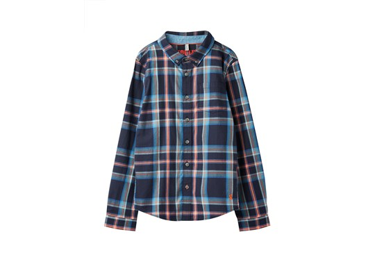 Joules Boys Lachlan Checked Shirt Navy