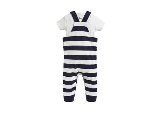 Joules Baby Wilbur Dungaree Set Navy Stripe Mr Fox