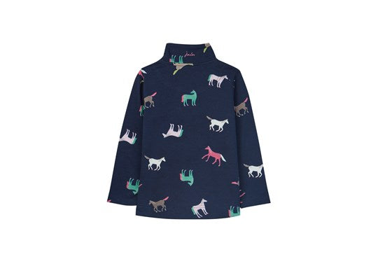 Joules Girls Fairdale 1/2 Zip Sweatshirt Navy Horses