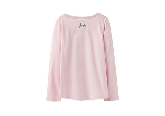 Joules Girls Ava Applique Long Sleeve T Shirt Top Pink Sequin Horses